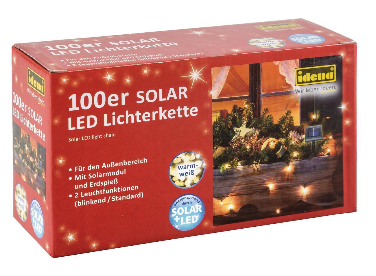 idena markenshop 100er solar led lichterkette warmwei f r au en 2 leuchtfunktionen. Black Bedroom Furniture Sets. Home Design Ideas