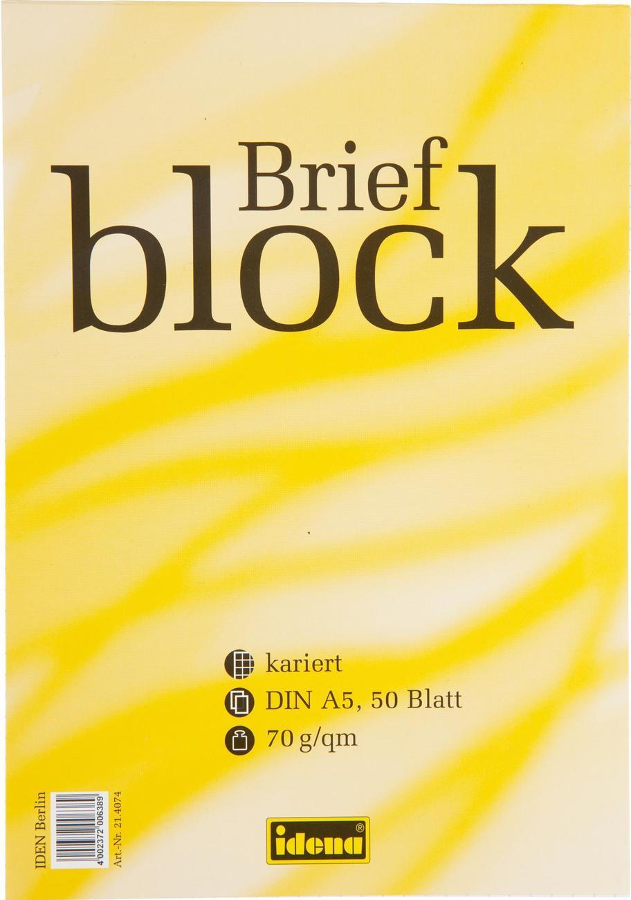 Idena Markenshop Briefblock Din A5 50 Blatt 70 G Kariert