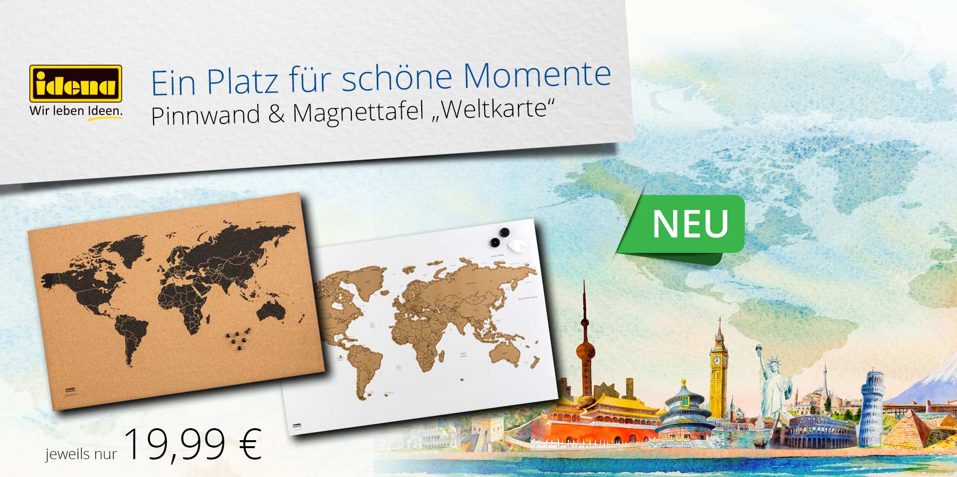 Banner Pinnwand & Magnettafel Weltkarte